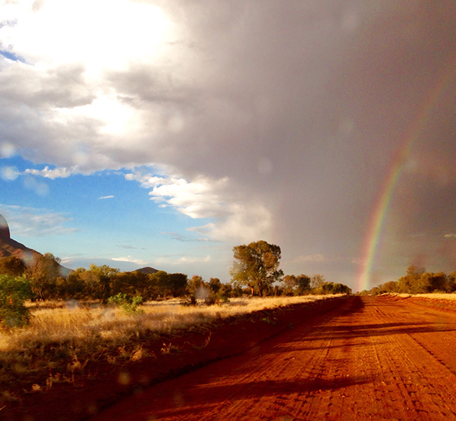 Rainbow near Papunya. Image courtesy Helen Puckey.