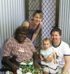 Lisa, Andrew and their daughter, with acclaimed artist Esther Giles Nampitjinpa.