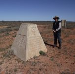This concrete block marks the site of the first British atomic bomb explosion in 1953.  We visited other bomb sites as well and explored the remains of the Emu township, and the old airstrip.  Before the atomic testing was started the Government of the day decided to clear the desert of its people.  Aboriginal people were rounded up and trucked to missions or small townships where they would be safe. Many were not found and lived in terror as missiles and bombs were set off.  Warri and Yatungka lived through this time as they had fled to the north where the missiles were aimed.